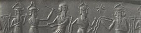 A cylinder seal impression showing Enki and other gods. Enki is on the right. The gods are recognizable by their horned helmets