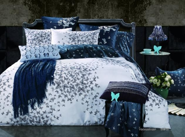 Egyptian Cotton Butterfly Comforter Set Bedspread Bedding Set King