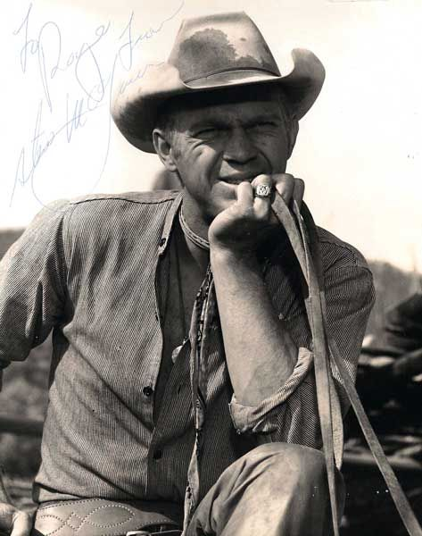 "Captured somewhere in Mexico as down on his luck gunfighter Vin Tanner, Steve McQueen relaxes in the saddle while filming the National Film Registry-preserved western ""The Magnificent Seven"" circa March 1960. Notice the vintage autograph, stylish ring and horse reins clutched in the actor's fingers. Image Credit: United Artists #SteveMcQueen, #KingofCool, #outsider, #rebel, #MagnificentSeven, #VinTanner, #1960, #cowboyhat, #stetson, #reins, #gunfighter, #western, #autograph,"