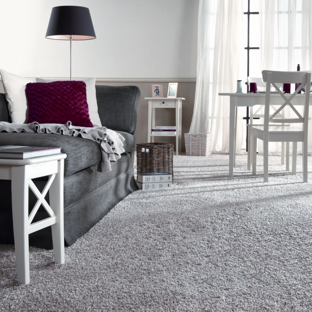 love the white furniture, gray carpet, sheers touch the ...