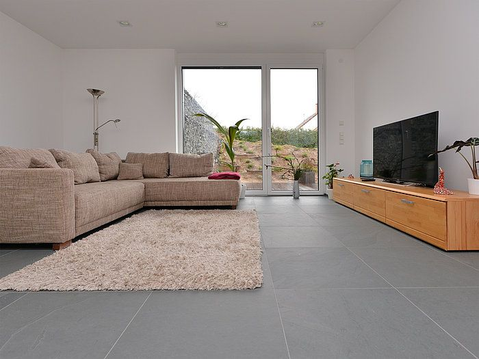 carrelage gris sol Pinterest Salons, House projects and House - carrelage mur cuisine moderne