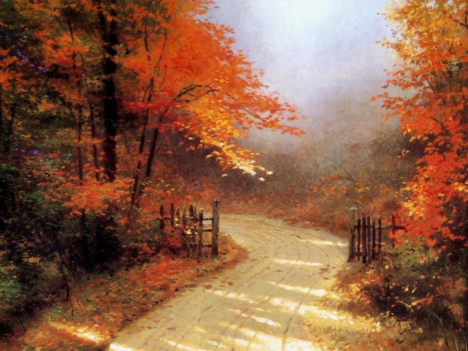 Thomas Kinkade Fall Desktop Wallpaper Famous Autumn Paintings Google Search Lighting