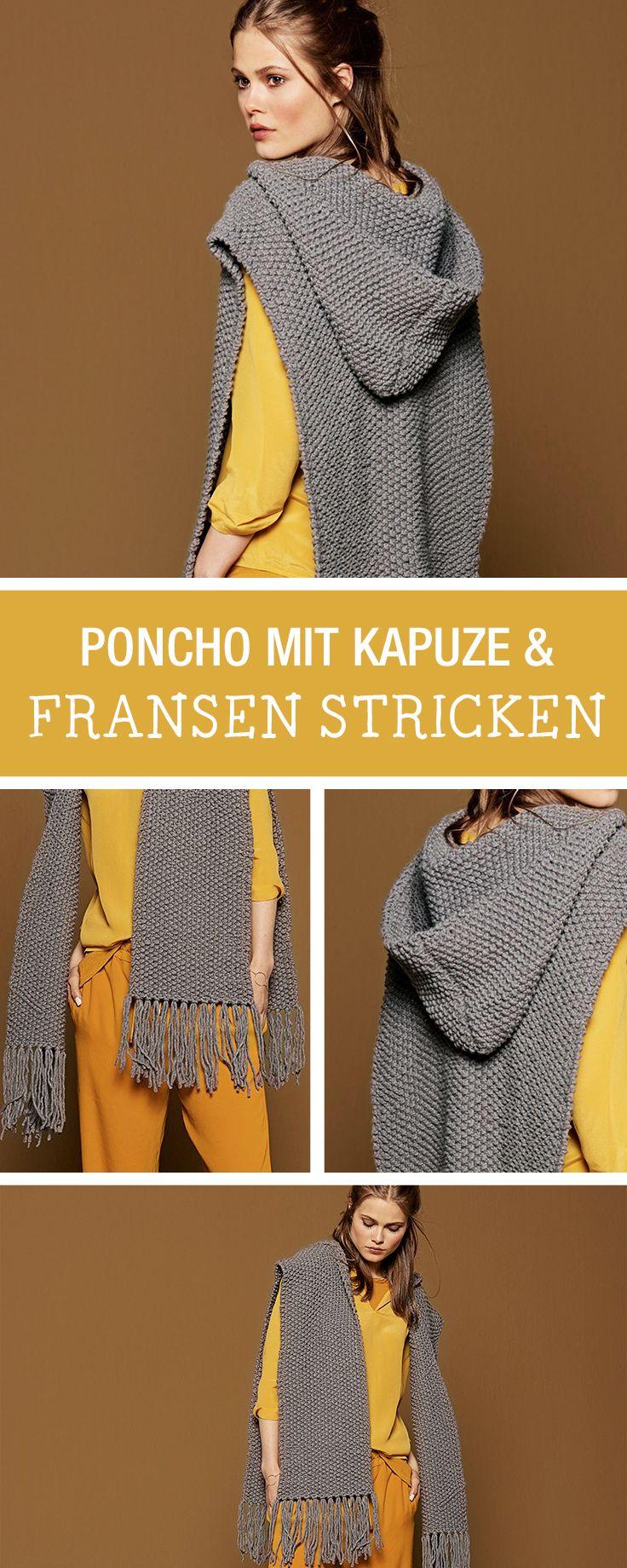 Stricken - DIY-Anleitungen | Pinterest | Poncho mit kapuze, Herbst ...