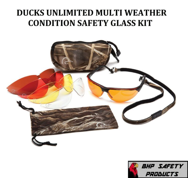 PYRAMEX DUCKS UNLIMITED HUNTING//SHOOTING SAFETY GLASSES CHANGEABLE LENSES /& CASE