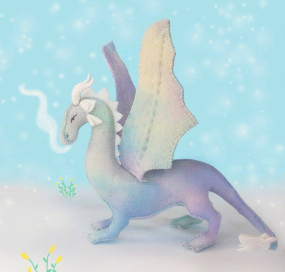 Felt Dragon Soft Toy Sewing Pattern PDF, Hand sewn with Hand dyed Wool Felt.