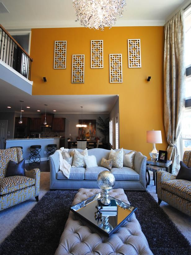 Swanky Living Room   Yellow U0026 Gray Contemporary Living Room On HGTV  Featuring The Maxim Lighting Comet Chandelier. ...