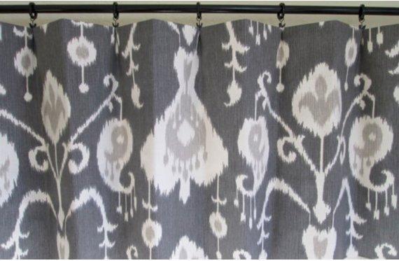 Grey Shower Curtains Grey Ikat Shower Curtain Custom Fabric Shower