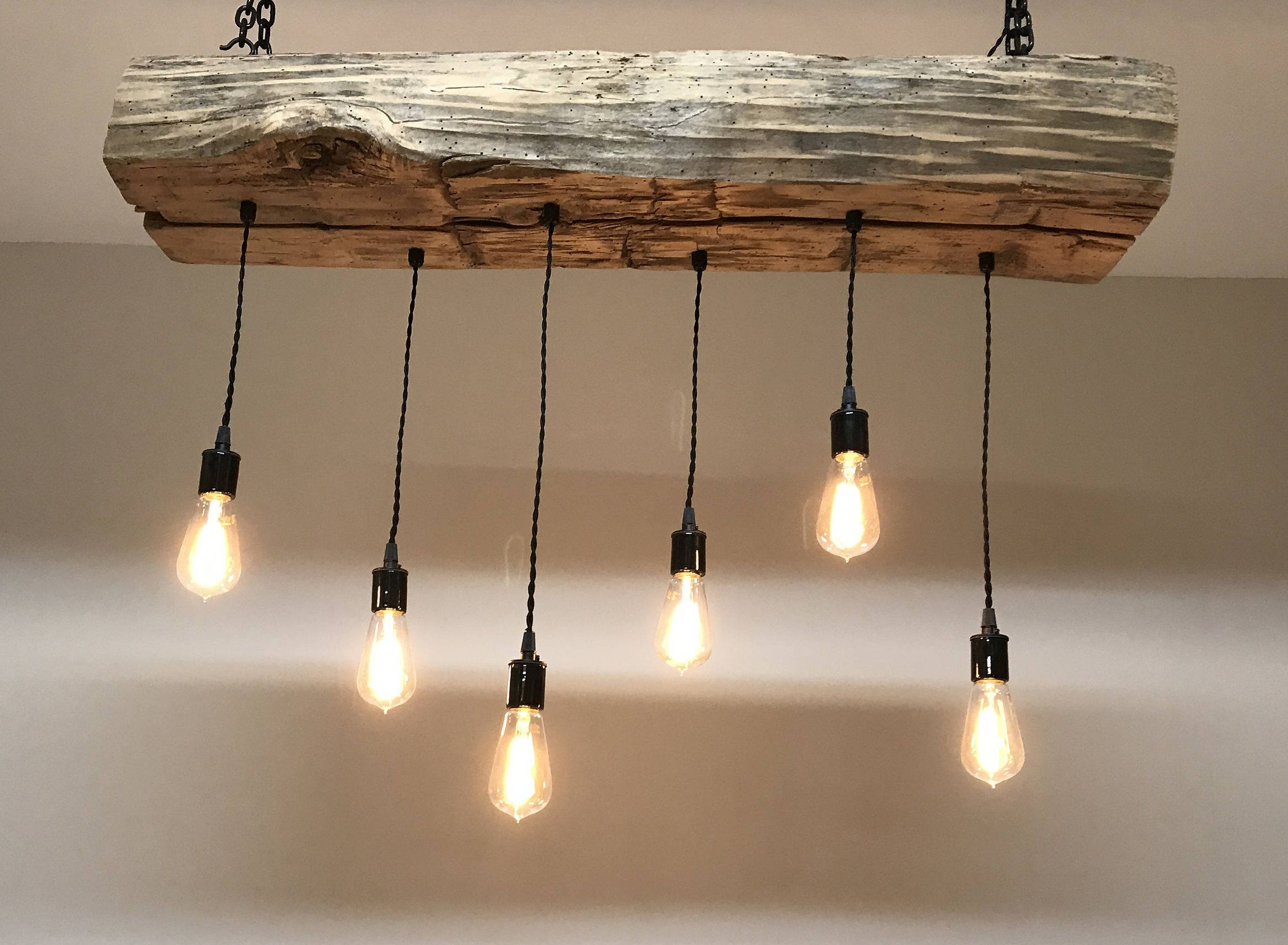 Reclaimed Barn Sleeper Beam Wood Light Fixture With Led Edison Pendant Lights Rustic Farmhouse Chandelier Lighting By 7mwoodworking On Etsy