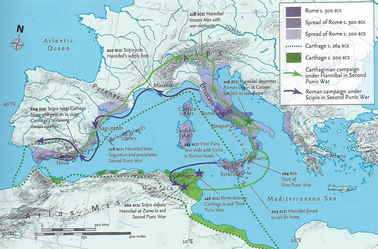 Major Sites Of The First Second And Third Punic War Ancient - Ancient rome map battle sites