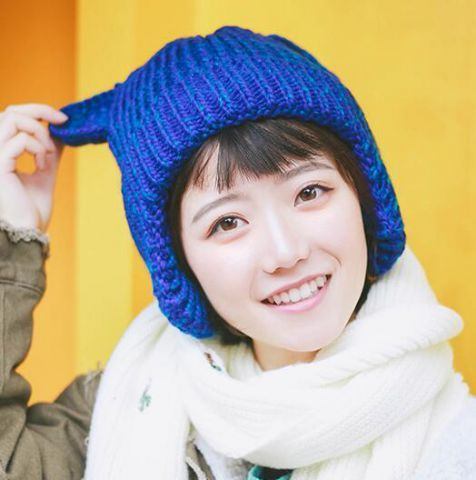 873aeaf7 Fashion cat knit hat with ears for women winter hat with ear flaps ...