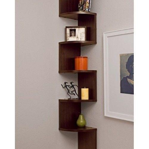 Corner Shelves Zig Zag Wall Mount Shelf Wood Walnut Color Finish Home Display