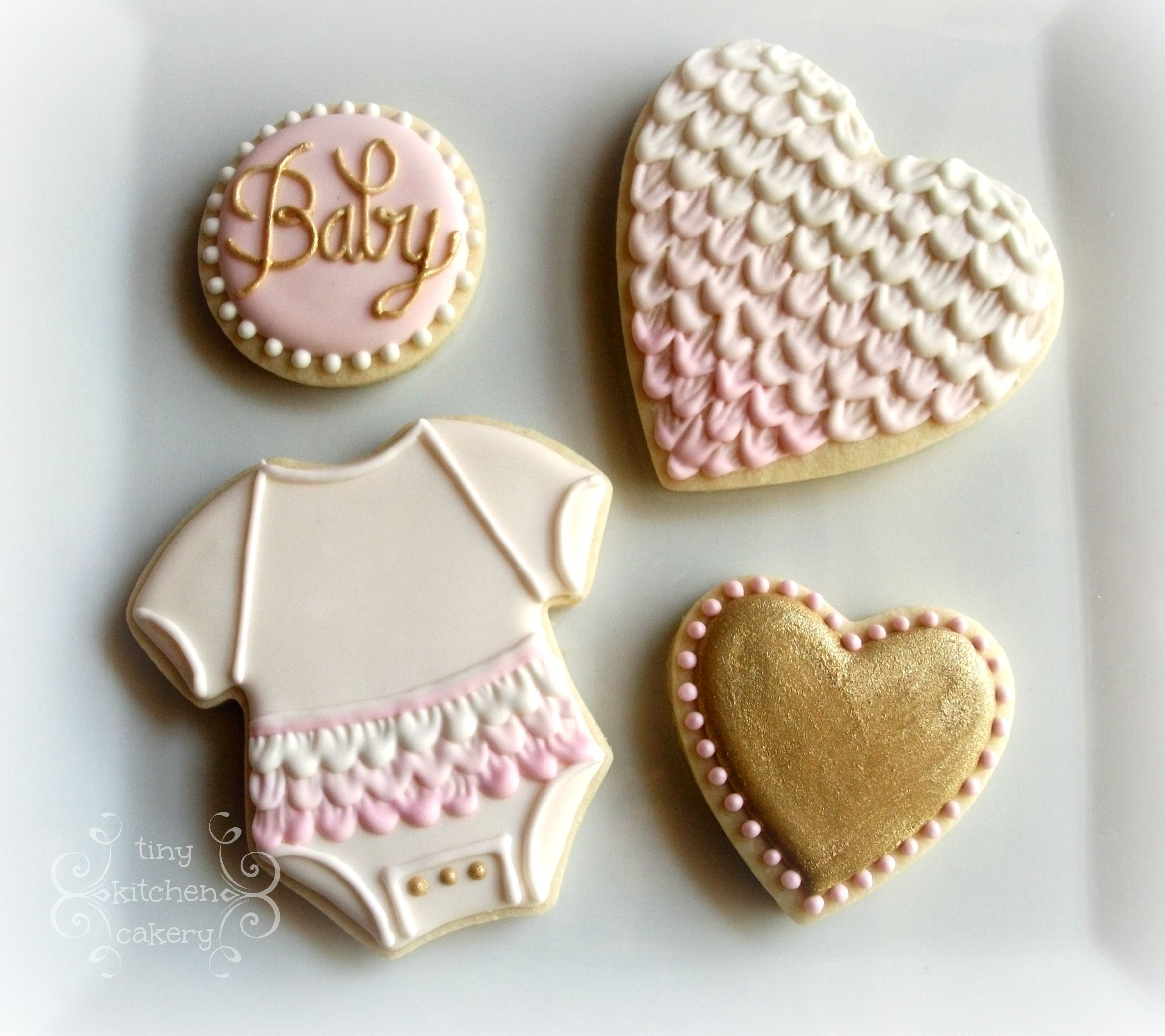 Baby shower cookies set pink and white and gold ruffles