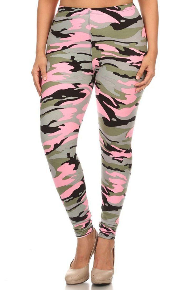 Light Pink Camo Design Plus Size Leggings