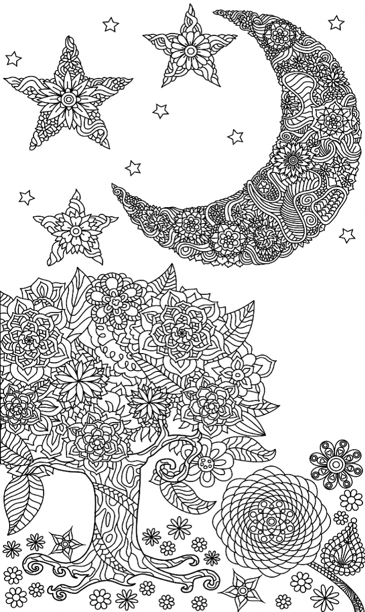 Tree Moon Stars Zendoodle  Sun Coloring Pages, Moon  Moon