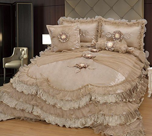 Brandream Champagne Lace Ruffle Comforter Set Luxury Noble Bed