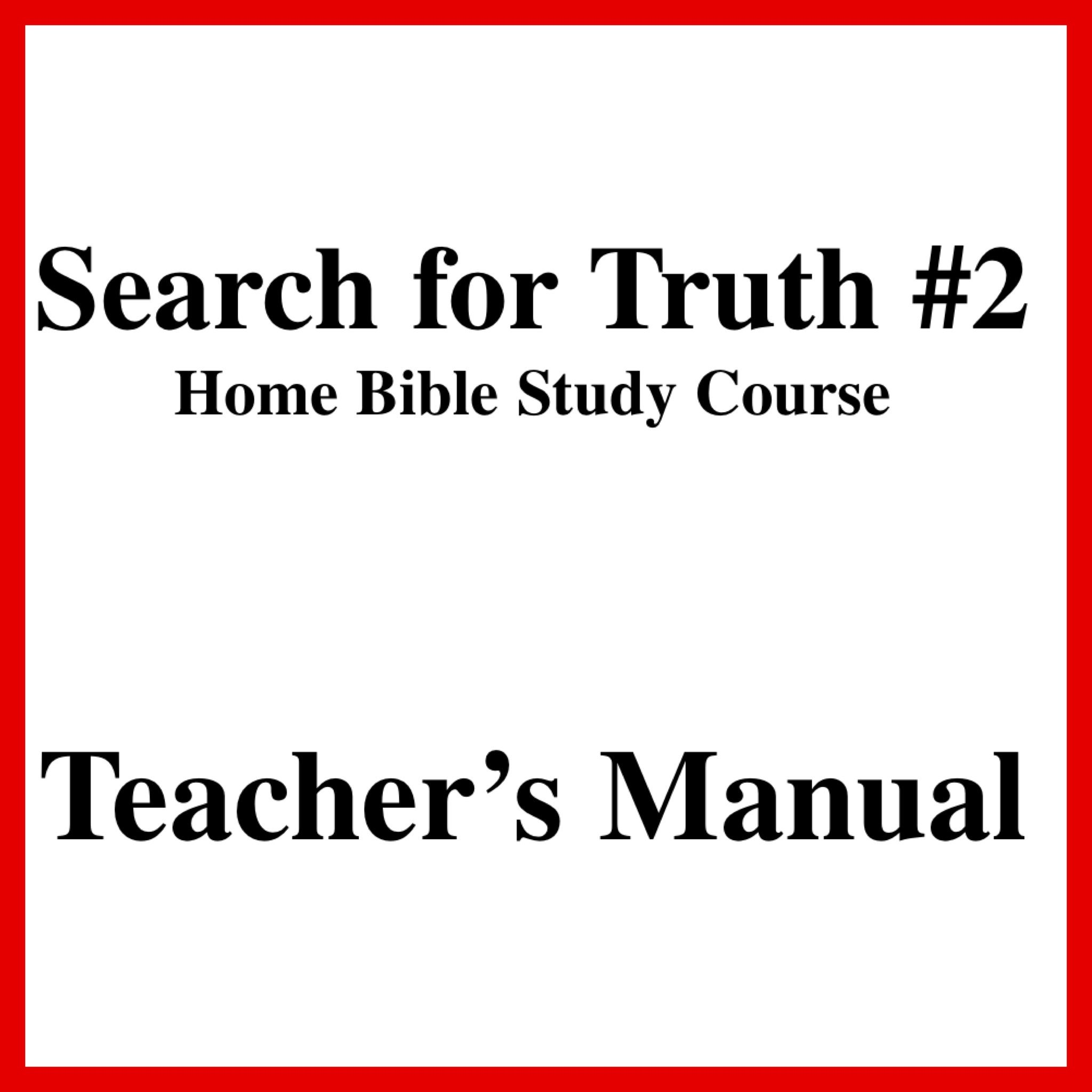 Search For Truth 2 Teachers Manual Free And