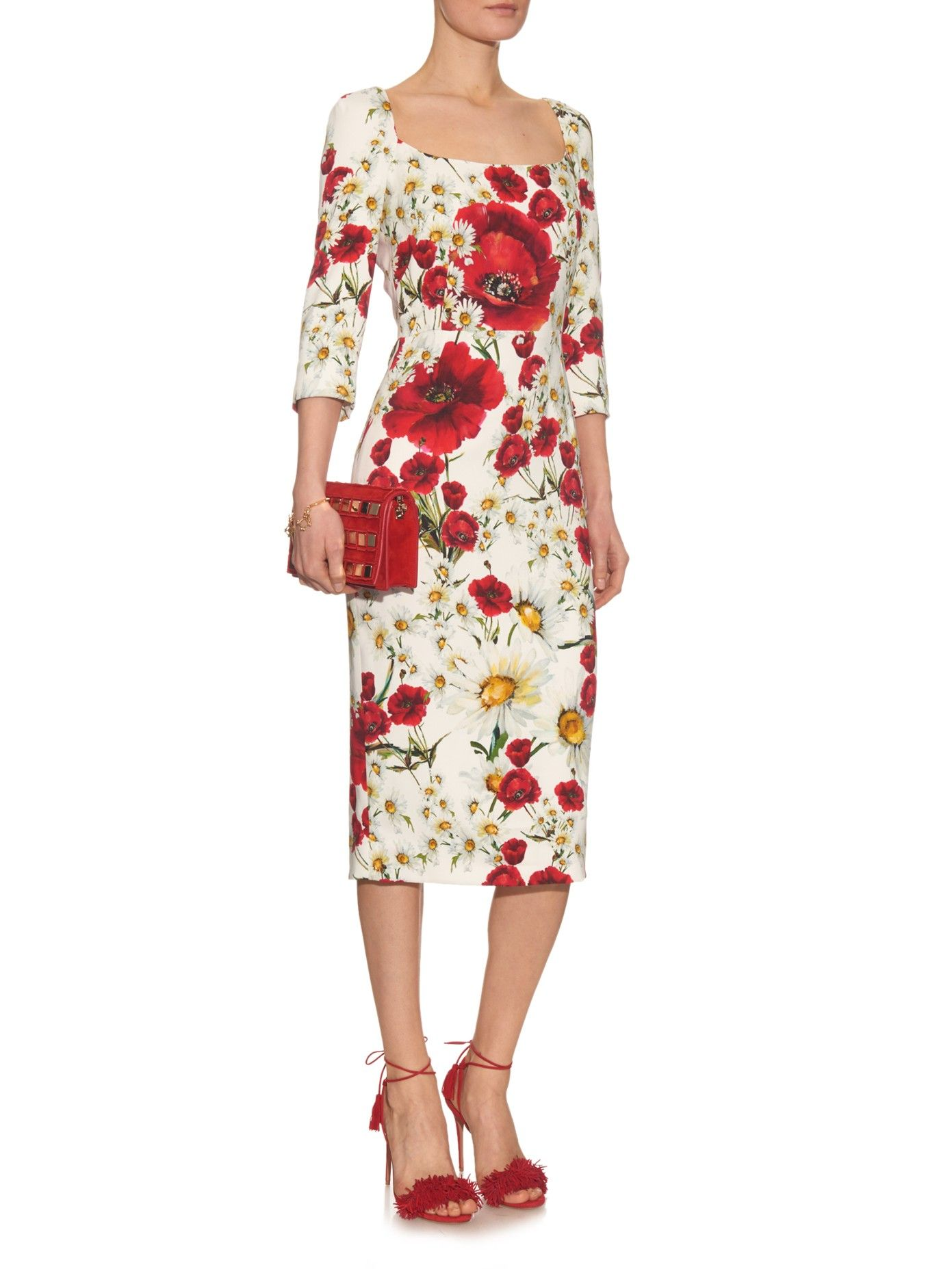 f6d1aff6 Daisy and poppy-print crepe midi dress | Dolce & Gabbana | Love ...