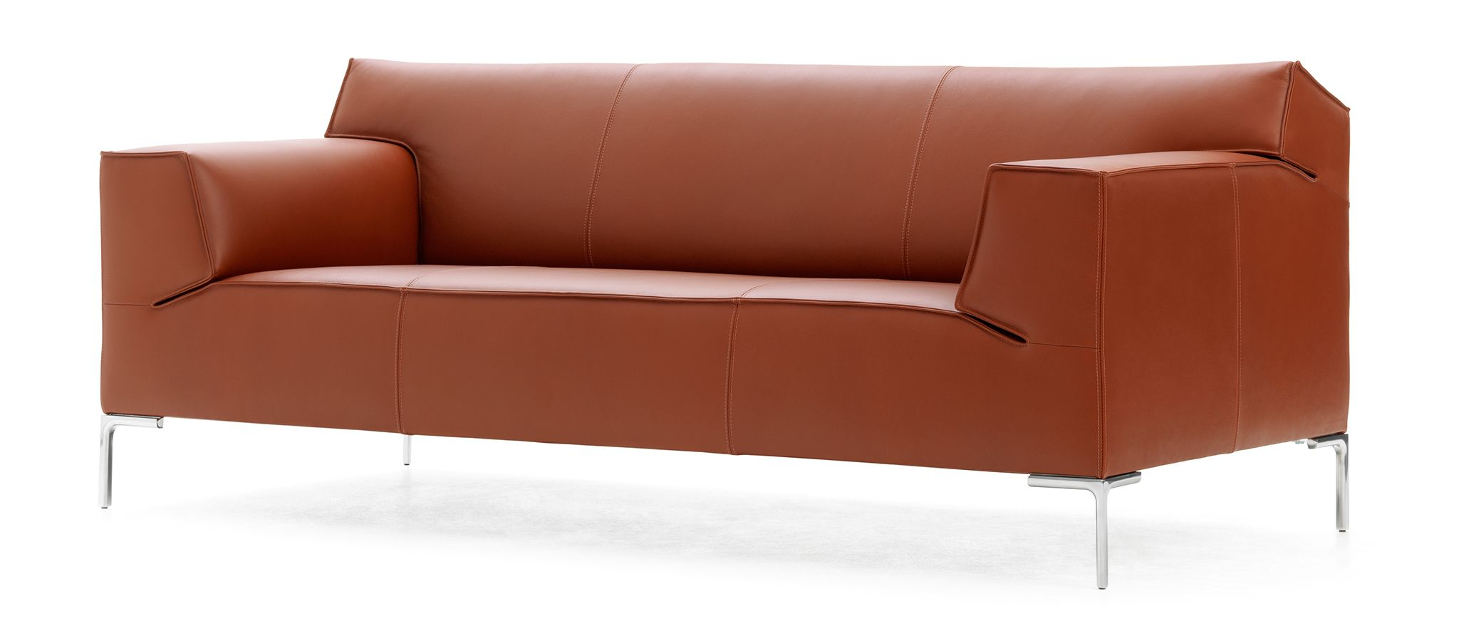 Two Tone Contemporary Style Sleek Quality Full Leather Couch