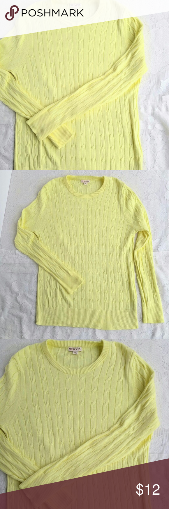 Merona Yellow Cable Knit Long Sleeve Sweater | Butter, Cable and ...