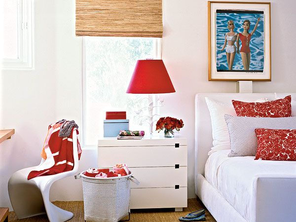 The Combination Of Crisp White Vibrant Red And Soft Turquoise Inspired This Simple Chic Bedroom