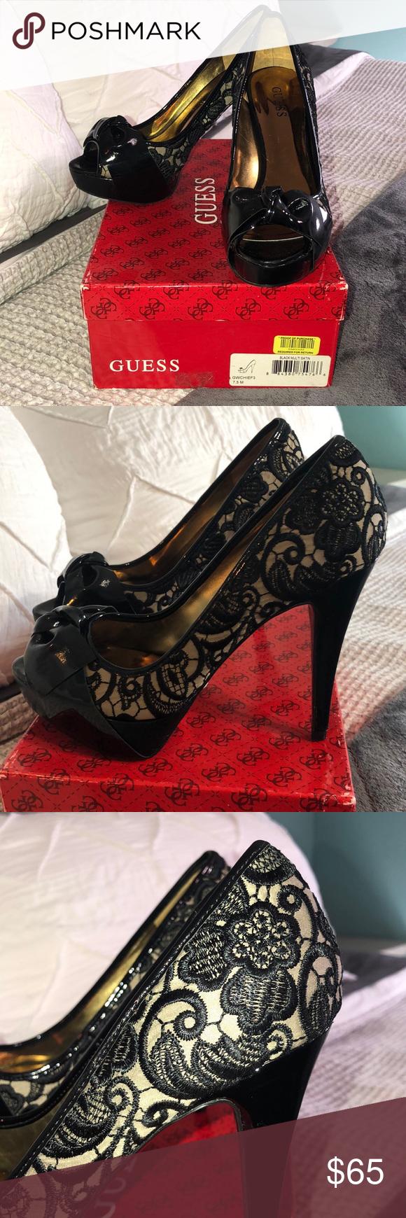 Guess Black multi satin heels size 7 12 Guess multi satin heels peep toe Worn   Guess Black multi satin heels size 7 12 Guess multi satin heels peep toe Worn