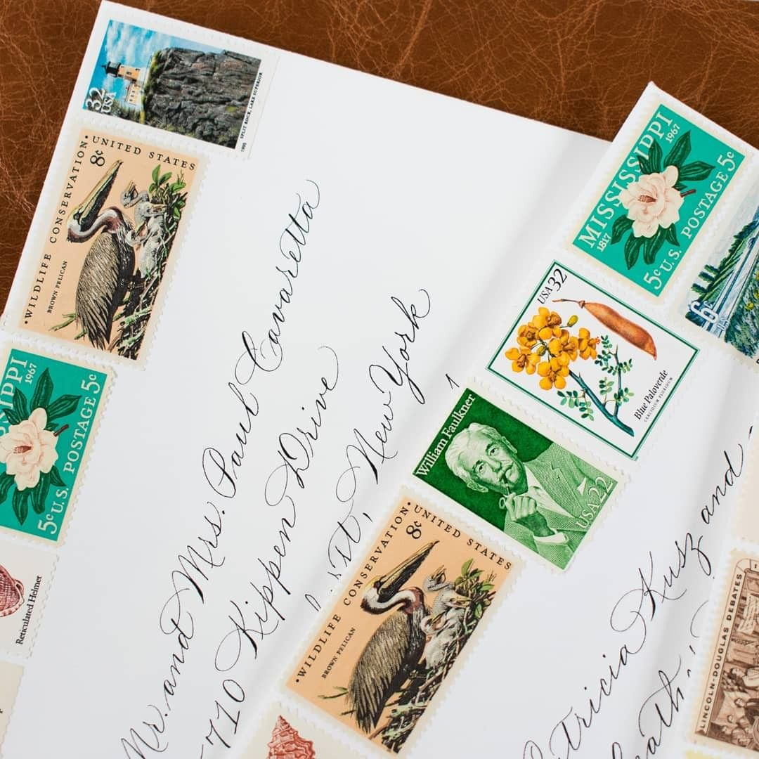 Calligraphy envelope addressing with personalized vintage