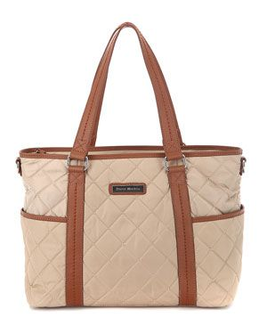 Perry MacKin 'Danah' Nylon & Leather Diaper Bag