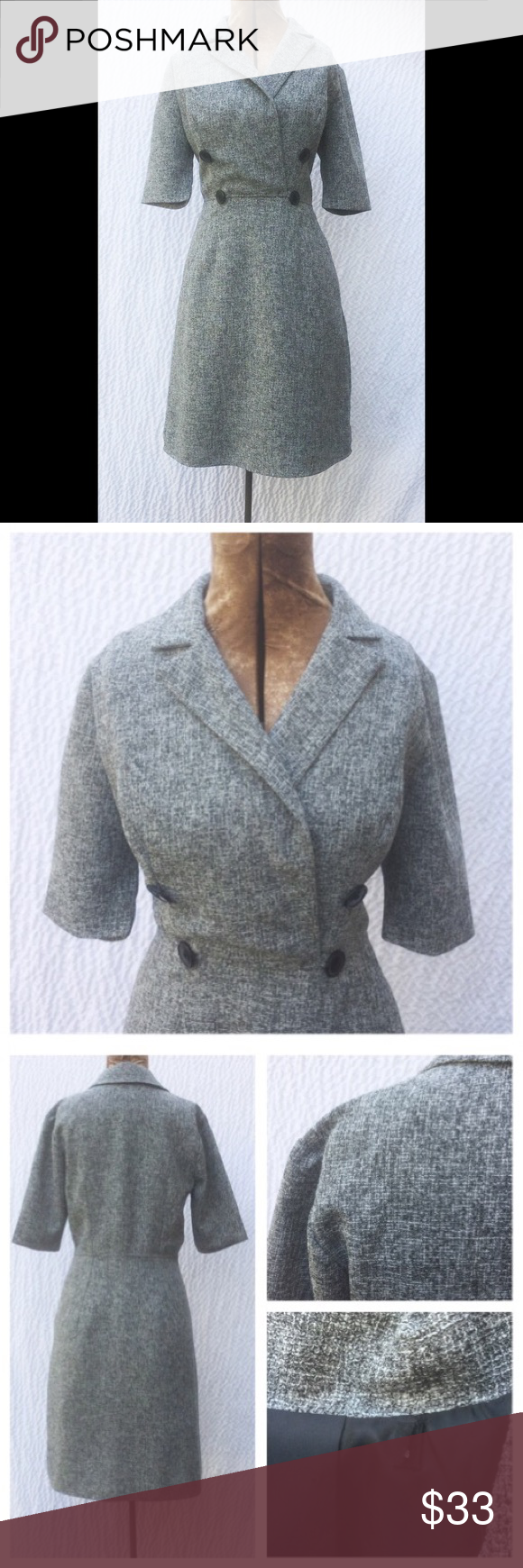 "New Eshakti Gray Suit Style Pencil Dress S 6 New Eshakti gray retro style suit dress. S 6 Measured flat: Underarm to underarm: 36"" Waist: 31 ½"" Length: 41 ½"" Sleeves: 11 ¾""  Eshakti size guide for 6 bust: 35"" Surplice cross over shirt neckline, 4 button detail, bust darts. Seamed waist, side seam pockets. Lined in polyester moss crepe. Polyester/rayon/spandex, textured suiting fabric. Machine wash New w/ cut out Eshakti tag to prevent returning to Eshakti eshakti Dresses"