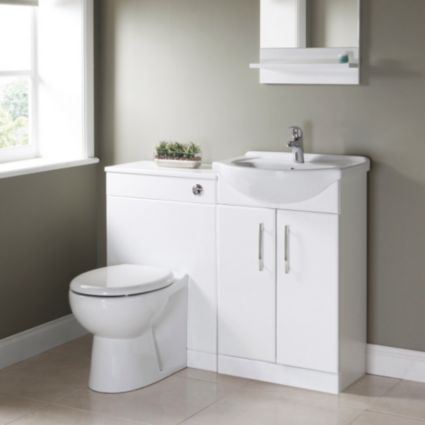 bq white vanity unit basin extra for toilet - Bathroom Cabinets B Q