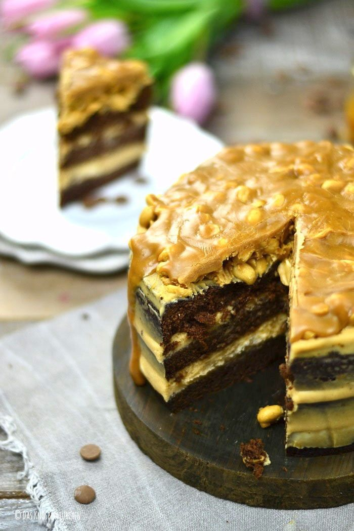 Erdnuss Karamell Schokokuchen Oder Snickers In Kuchenform Torte