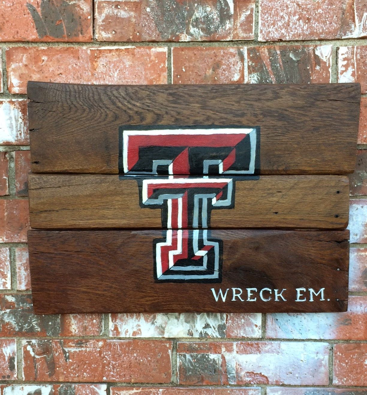 """Texas Tech """"wreck em"""" painted wood sign by DCoCustomsbyAshley on Etsy"""