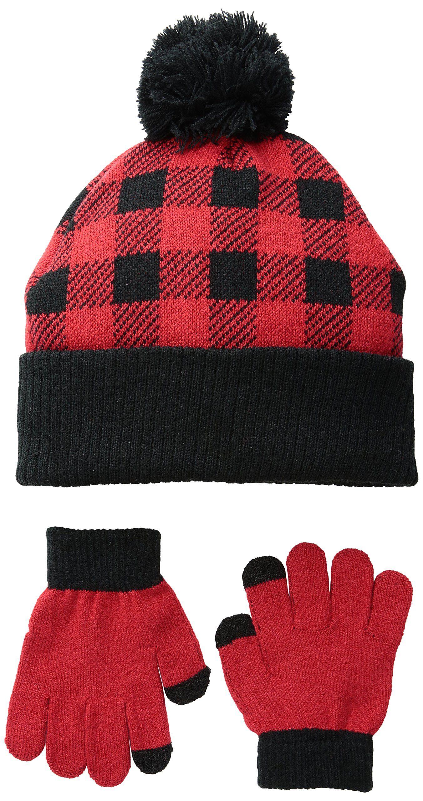 cc409856446 iXtreme Toddler Boys Buffalo Check Hat Glove 2 Pc Set