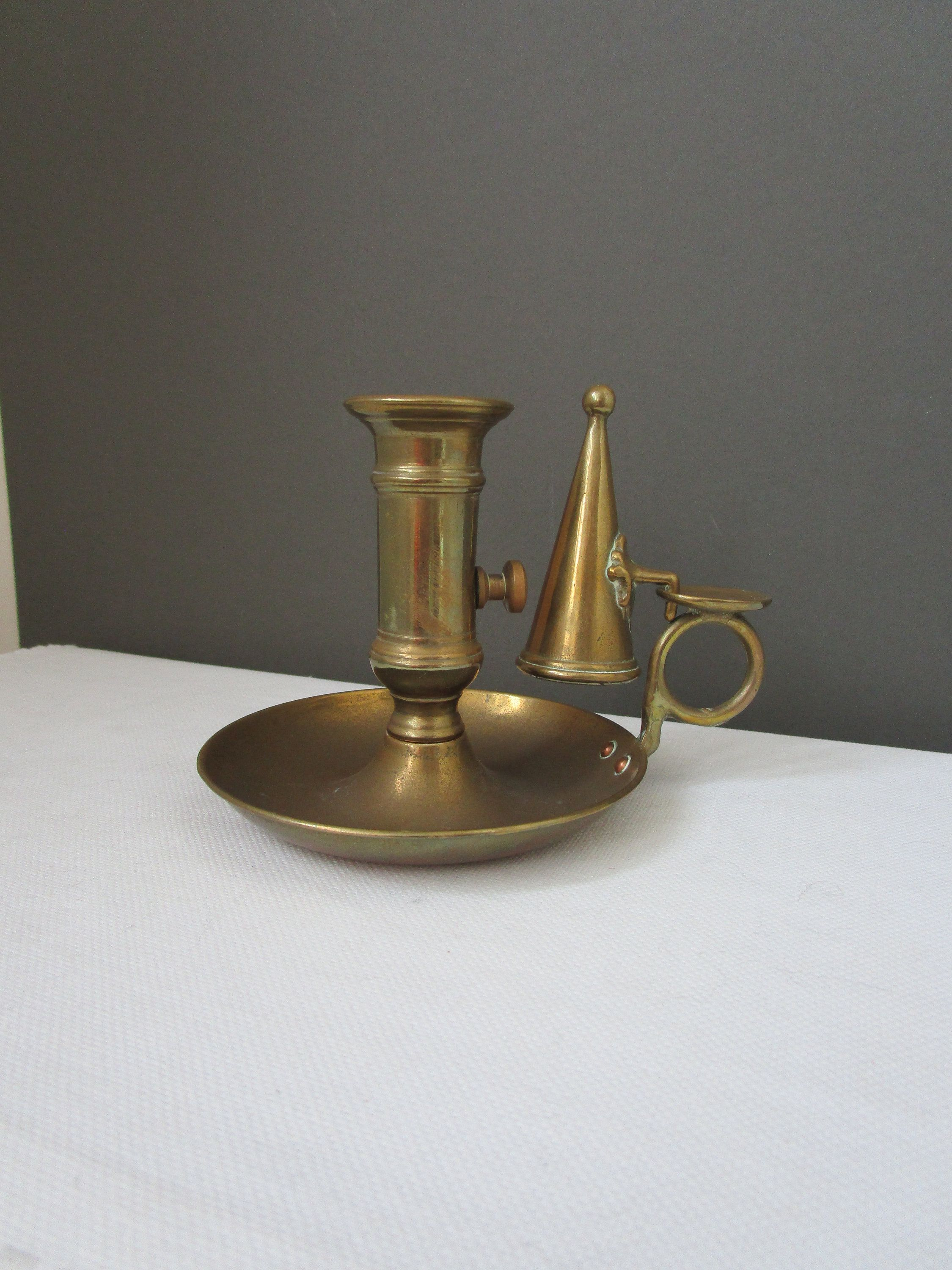 Antique Push Up Brass Chamberstick  Rustic Taper Candle Holder  French Country Farmhouse Decor