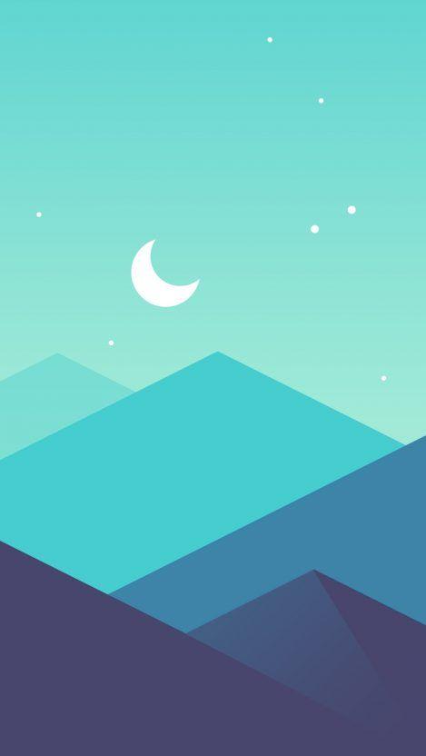 Minimal Mountains Moon Iphone Wallpaper Free - GetintoPik ...