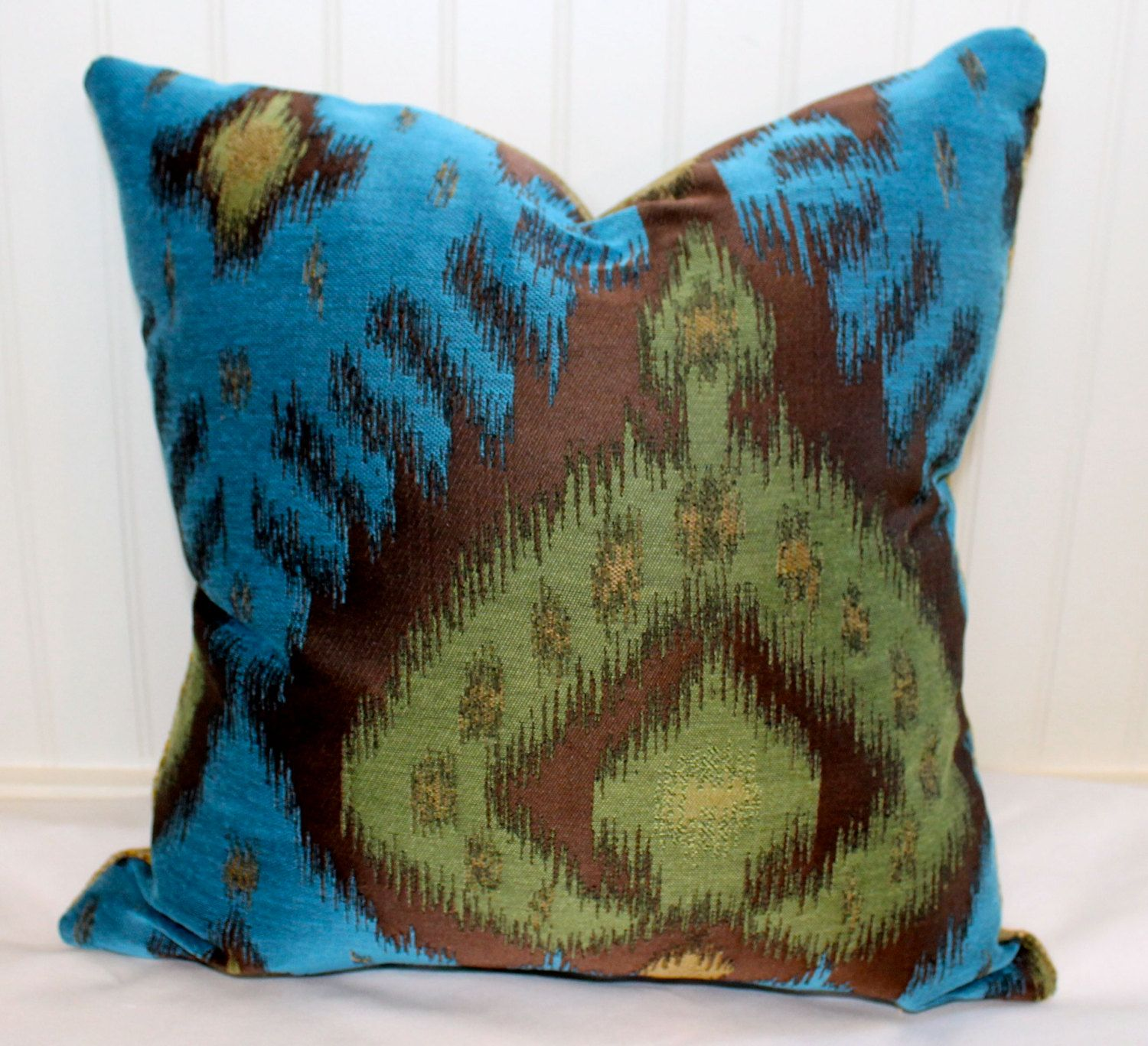 Brown and teal throw pillows - Blue Green Brown Ikat Pillow Cover 18 X 18 By Stitchandbrush