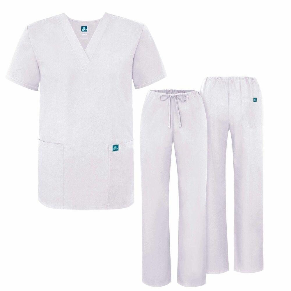 99b1626d5d5 eBay #Sponsored Adar Medical Uniforms Unisex Doctor/Nurses Scrub Set Top &  Pants White Color XL