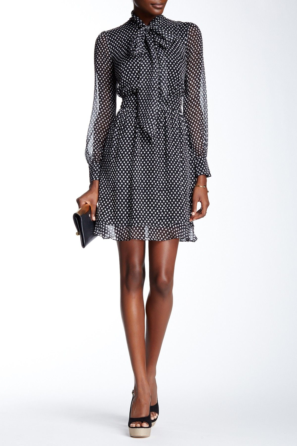 Obsessed with this Black & White Polka Dot DVF Arabella Silk Dress