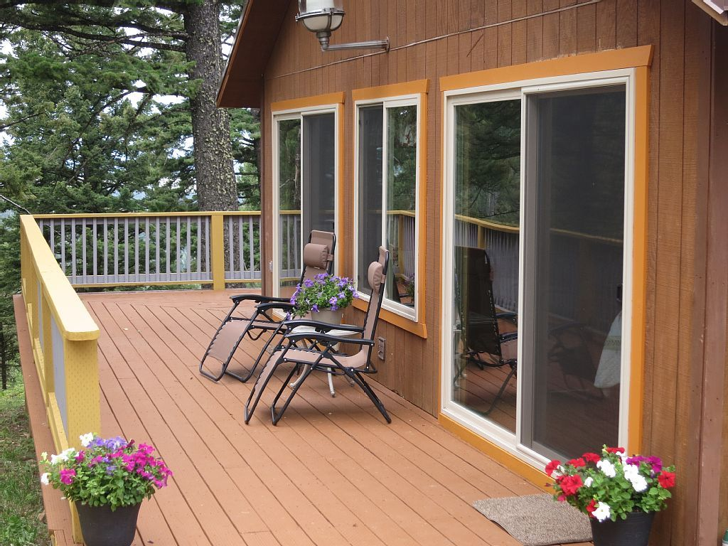 Enjoy The Peace And Serenity From Your Private Deck.   West Yellowstone  Cabin Rental