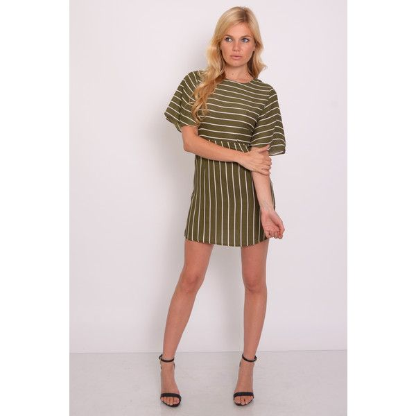 3315d04b91e98 Rare London Khaki Stripe Cape Sleeve Shift Dress ($58) ❤ liked on Polyvore  featuring dresses, stripe dress, pink stripe dress, shift dress, pink  striped ...