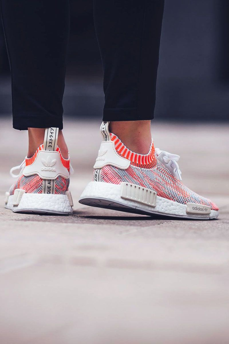 new products a4c71 01551 ADIDAS NMD R1 PK White  Solar Red