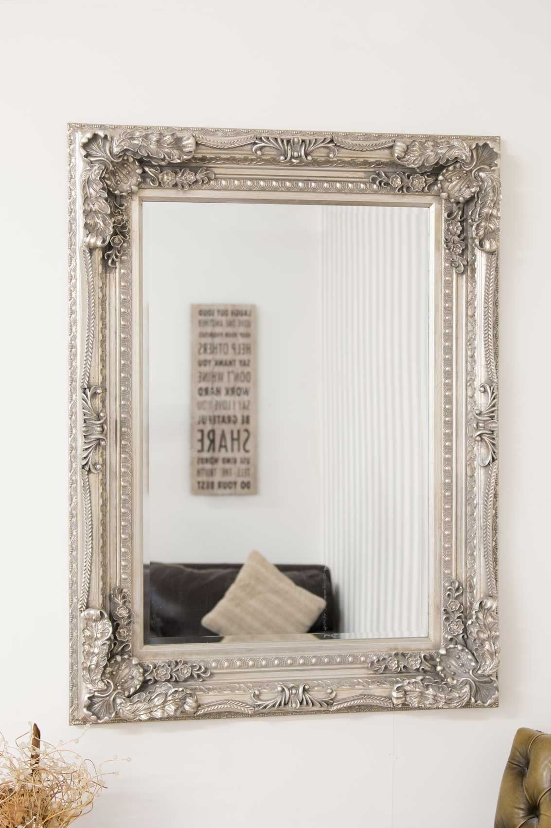 Large Silver Rectangle Antique Style Big Wall Mirror 4Ft X 3Ft 120cm ...