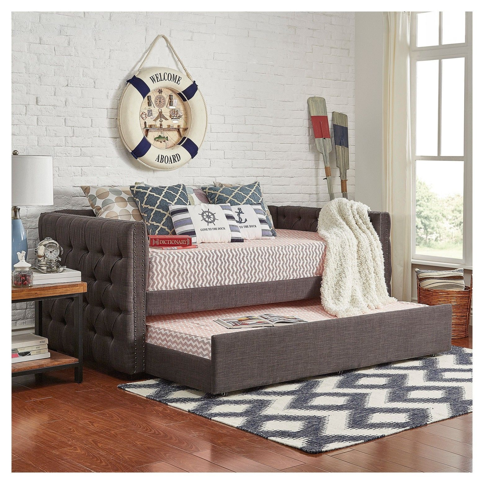 Darlington Tufted Bed - Twin With Trundle - Oatmeal - Inspire Q