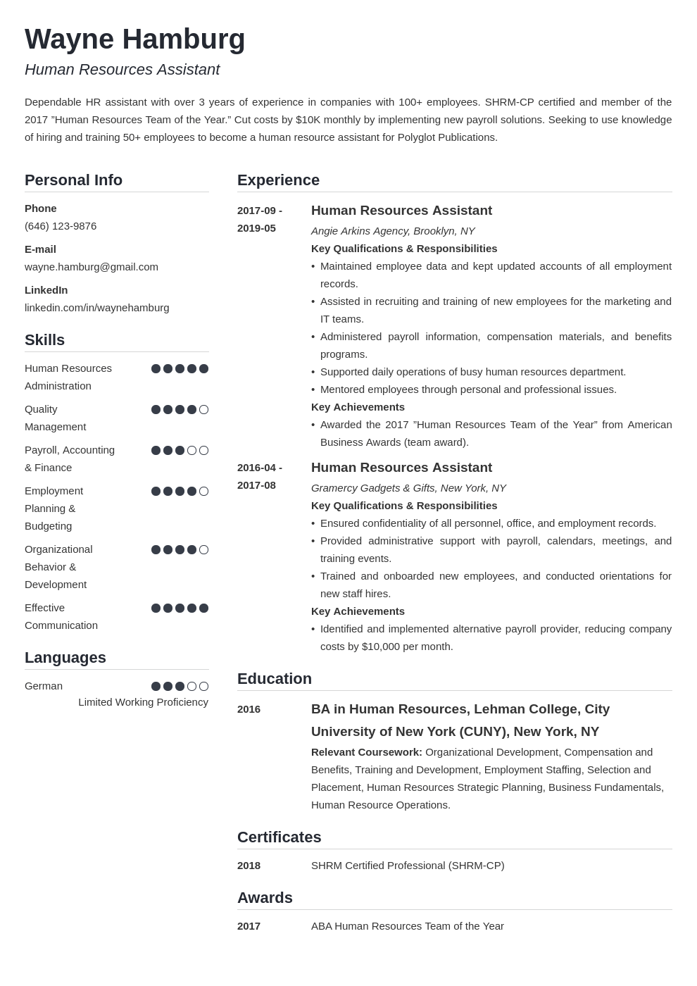 hr assistant resume example template simple in 2020