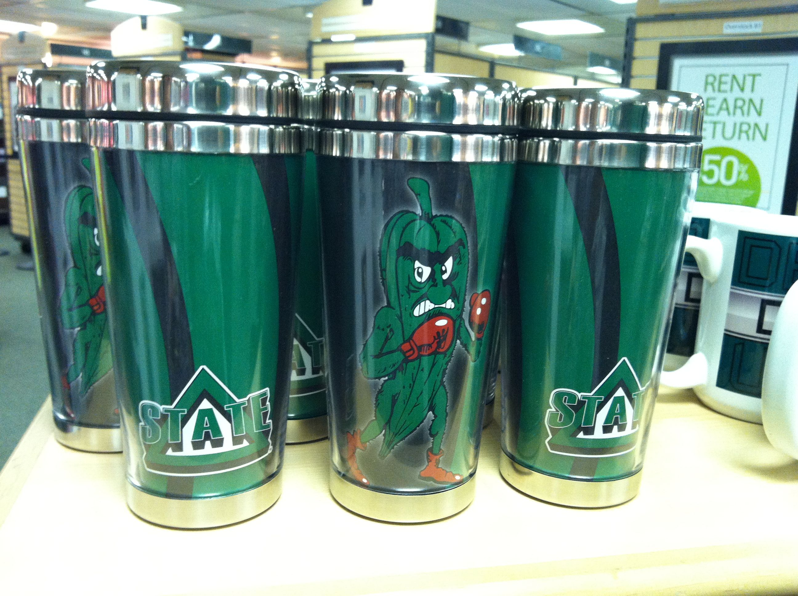 Officially Licensed Delta State drinkware available at the Barnes & Noble Bookstore on campus