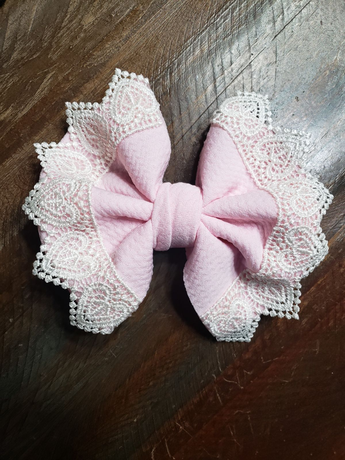 Big Hair Bow-Light Pink with Ivory Trim #bighairbows
