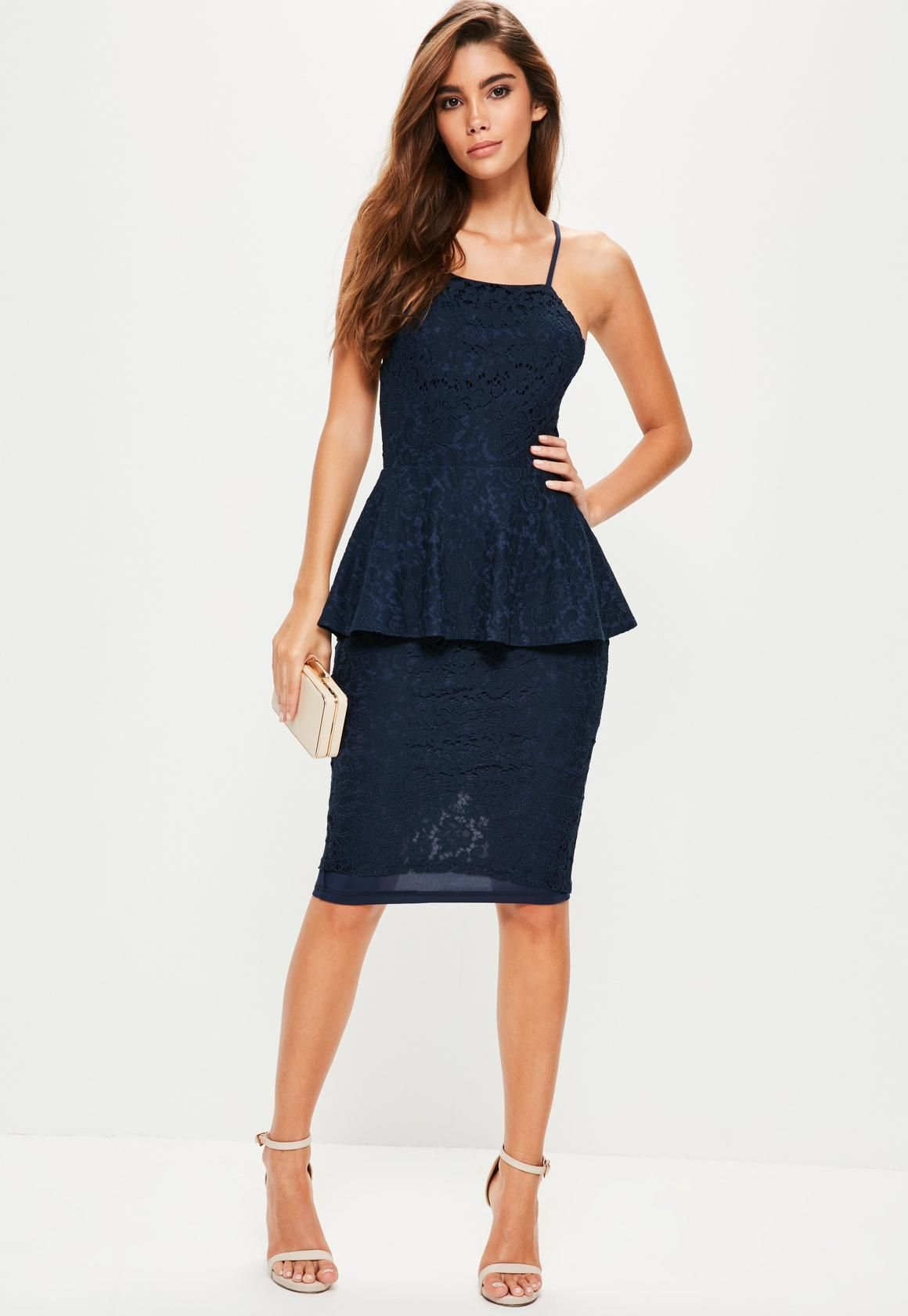 Missguided Navy Lace Peplum Midi Dress Peplum Midi Dress Women Dress Online Dresses
