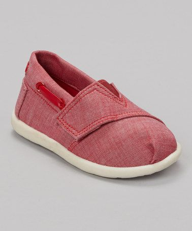Take a look at this Jean Red Slip-On Shoe by My Buddies on #zulily today!