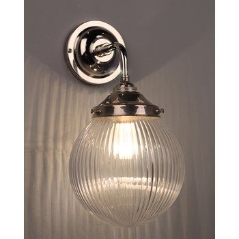 Exceptional Pembury Bathroom Wall Light With Glass Prismatic Globe