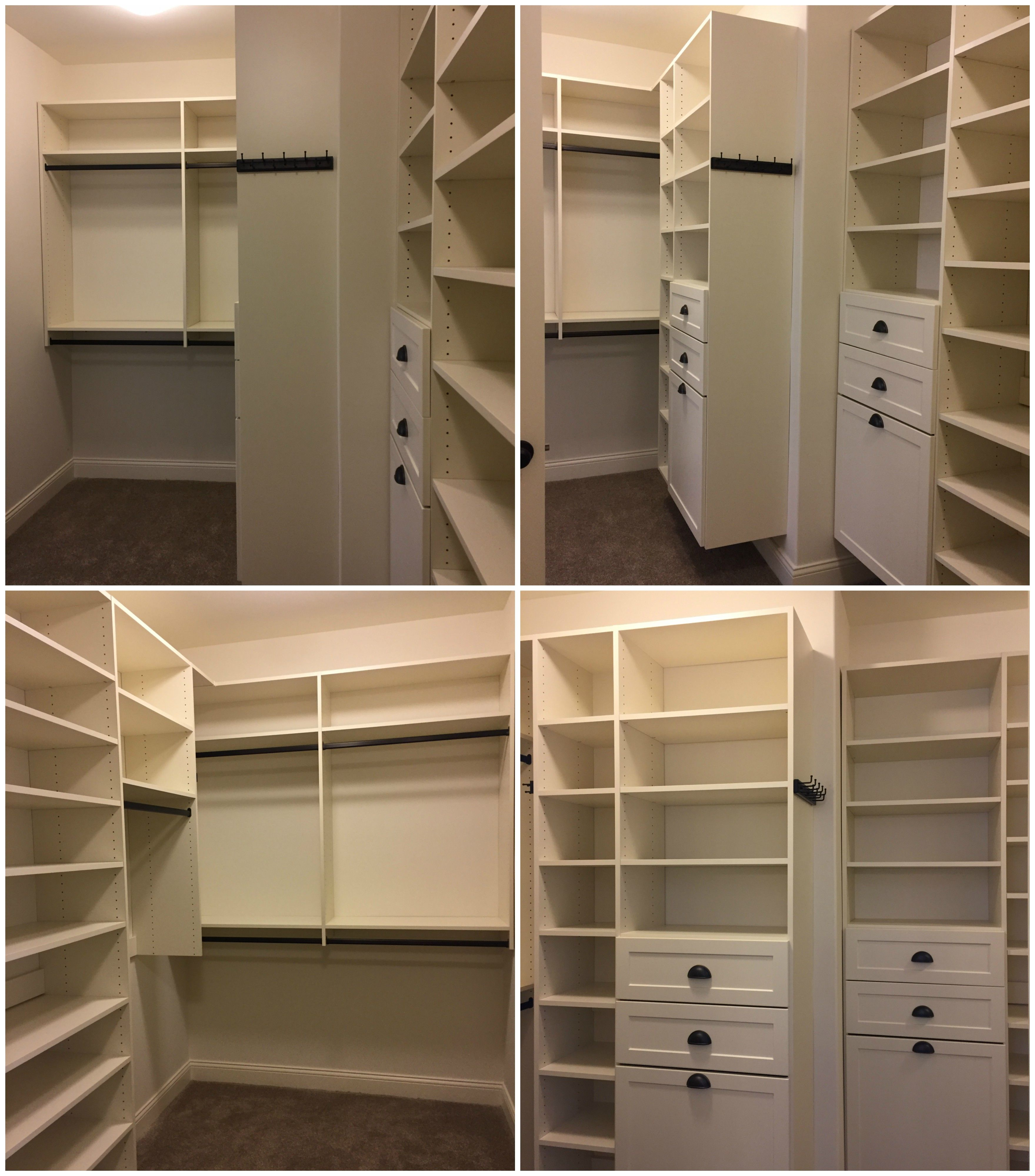 White Melamine Walk In Closet With Adjustable Shelving, Double Hang, Long  Hang,