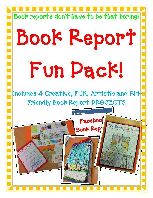 TeacherLingo $1300 - Book Report FUN PACK! 4 Projects! Board - cereal box book report sample